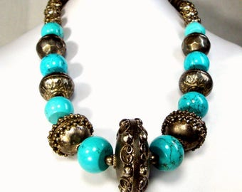 Tribal Silver & Turquoise Boho Bead Necklace, Recycled 1970s Ethnic Filigree Metal w New Gorgeous Color Stone Barrel Beads, OOAk R Starr