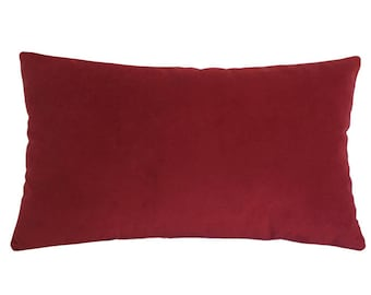 Red Velvet Suede Decorative Throw Pillow Cover / Pillow Case / Cushion Cover / 12x18""