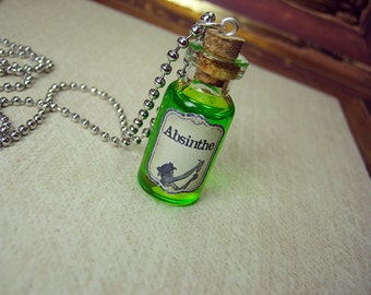 Absinthe 2ml Glass Bottle Necklace Charm - Glass Cork Vial Pendant - Absinthe Green Fairy Drink