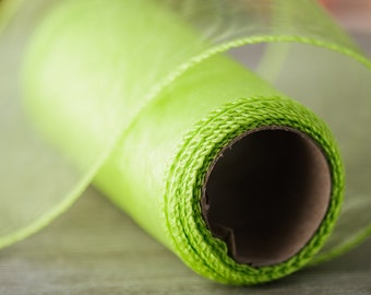 """Apple Green Summer Decor Sheer Ribbon 9.3 yard long 4.7"""" wide Organza Ribbon DIY Craft Supplies Ribbons Kids Party Decorative Ribbon"""