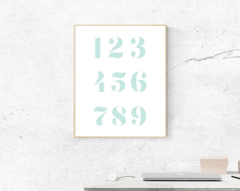 Blue Numbers, Digital Print, Blue Numbers Art, Numbers Art, Digital Download, Blue Numbers Wall Art, Wall Prints, Printable Art