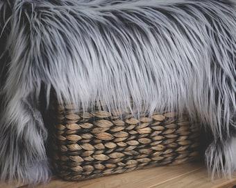 Grey And White Faux Fur, Newborn Photo Props, Basket Filler, Basket Stuffer, Newborn Blanket Prop, Newborn Props, Photo props, Fur