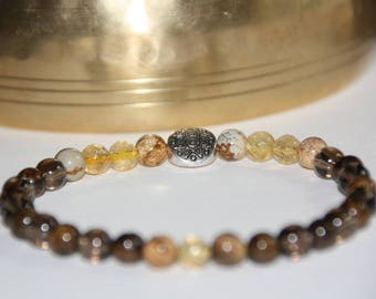 Bracelet natural pearls 6mm - Jasper, Bronzite, Citrine, smoky Quartz
