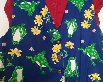 Vintage Leaping Frogs Vest!