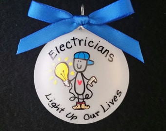 Electricians gift,electrician Christmas ornament,custom personalized ornament,construction worker,house builder,repairman,tradesmen