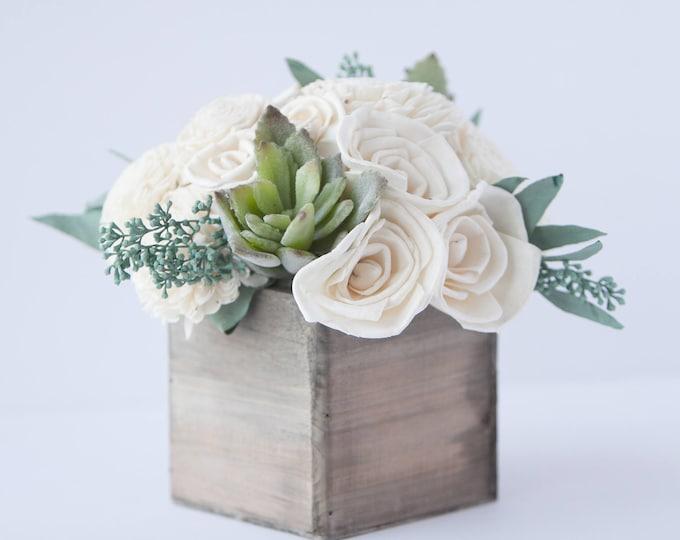Succulent Sola Flower Arrangement - Floral Arrangement -Sola Flower Centerpiece -Wedding Centerpiece -Rustic Centerpiece