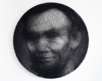 Portrait, Personal portrait, Gift, Portrait of thread, Personalized gift, Custom portrait, Home decor, Wheel, String Art, Abraham Lincoln
