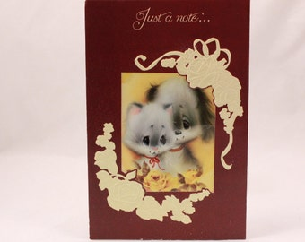 Vintage Just a Note Greeting Card. 1 Single Card with Envelope.