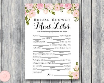 Peonies Bridal Shower Mad Libs, Marriage advice cards, Wedding Mad Libs, Bridal Shower Mad Libs, Bridal Mad Libs, Mad lib advice  WD67 TH13
