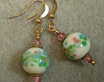 Vintage Chinese White Confetti Millefiori Blue Glass Bead Dangle Drop Earrings- Pink, Aqua Mint Green ,Vintage Pink Swarovski Crystal,Gold