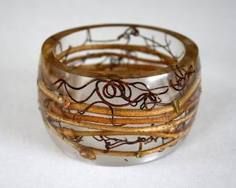 Vine twig bracelet, tree bracelet, resin and branches bracelet, woodland bangle, nature bracelet, nature bangle, transparent, made in Canada