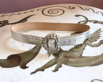 Vintage 60s Silver Croc Belt / 1960s Silver Heart Studded Buckle Belt
