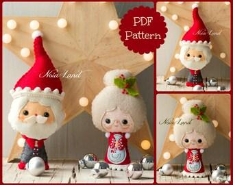 Santa and Mrs. Santa Tree ornaments. Cute Christmas (PDF Pattern)