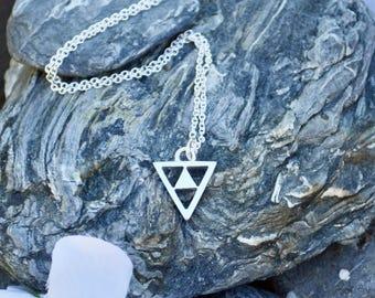 "Silver Necklace, Sterling Silver Necklace, Silver Triangle Pendant, Silver Triangle Necklace, Necklace, Jewelry ""TRIANGLE NECKLACE"""