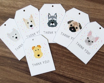Set of 12 Thank You Gift Tags, Dog Thank You Tags, Dog Themed Thank You Tags, Cute Puppy Gift Tags, Baby Birthday Party Thank You Favor Tags