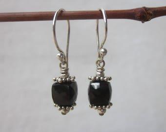 Black spinel earrings, dainty faceted cube gemstone earrings, small black stone dangle earrings, everyday drop earrings, sterling silver