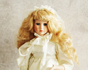 Vintage doll, wedding doll, collectible doll, music box doll, bisque face, white dress doll, porcelain doll