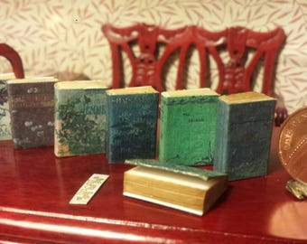 Set of 8 vintage 1.12 scale miniature novels with aged turnable blank pages and replica bookmark .