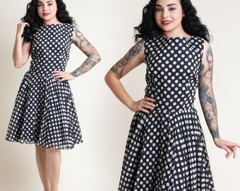 SALE SALE SALE vintage 60s Polka Dot pleated Party dress M L / black and white pinup rockabilly fit and flare sun dress medium large 1960s