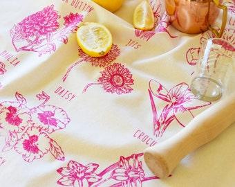 Tea Towels - Screen Print - Tea Towel Flour Sack - Organic Cotton - Floral Towel - Mothers Day Gift - Flowers - Dish Cloth