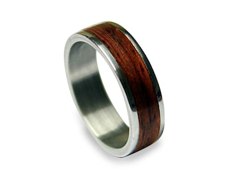 Mens Wedding Band, Titanium Ring With Wood Inlay, Wooden Ring On A Titanium Band