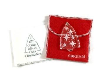 Vintage Gorham Tree Ornament, 1977 Gorham Ornament, Gorham Crystal Ornament, Vintage Christmas Decor, Christmas Tree Pendant