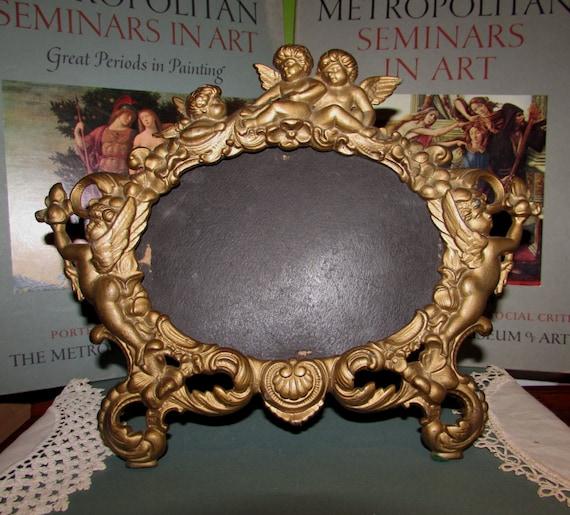 Vintage de hierro fundido Metal espejo imagen marco victoriano ...