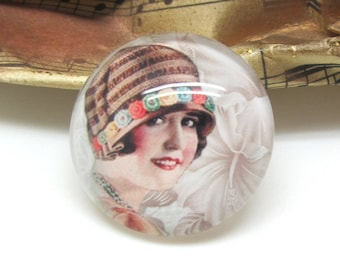 2 cabochons glass face Retro woman Brown 14 mm - 14 mm