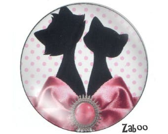 2 cabochons 18mm glass cat, pink and white
