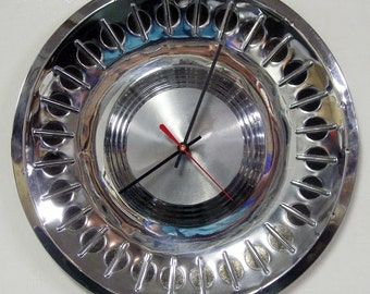 Wall Clock made from a recycled 1961 Plymouth Hubcap - Fury, Savoy, Belvedere, Suburban - Hubcap Clock - Back to School