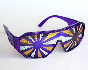 Rasslor Silver and Gold Purple Shield Sunglasses