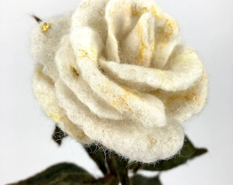 Roses Forever: Beautiful White Rose, Artificial Rose, Symbolic Gift, Statement Flower, Love Symbol, Organic & Sustainable Gift, Textile Art