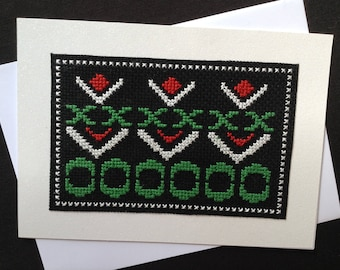 Black Cross Stitch Card, Black Card, Cross Stitch Card, Embroidered Card, Stitched Card, Black and White Card, Blank Card, 5 X 7 Card