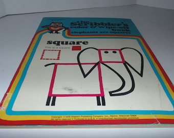 Vintage 1979 The Scribbler's Color Wipe-off book elephants and squares Preschool