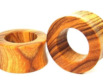 Olive wood Flat Ear Tunnel 03 Handmade Gauges/Stretchers/Custom Made Ear Tunnels sizes10mm-40mm