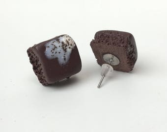 Tiny Cute Chocolate Brownie with IceCream Stud Earrings, Polymer Clay, Miniature food