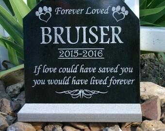 Pet Grave Marker Pet Tombstone Pet Memorial Granite Headstone with *Base Stand* Dog Cat Paw Print Custom Engraved Pet Memorial Plaque