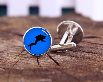 Searches For Diver Cufflinks, Diver Cufflinks, Silhouette Cufflinks, Custom Sport Cufflinks, Wedding Cufflinks, Groom Cufflinks, Tie Clips