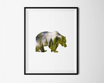 Bear Print, Bear poster, Bear printable, Rustic Decor, Bear decor, Bear Wall Art, Printables, Bear art, Bear forest, Animals, Rustic art