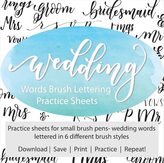 Wedding words brush lettering practice sheets hand