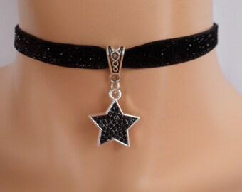 black star choker, glitter ribbon, black velvet choker, stretch ribbon