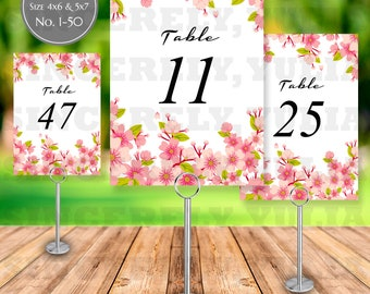 Cherry Blossom Sakura Table Number Printable || Japan Oriental Wedding || Number 1-50 || Size 4x6 and 5x7 || Digital Files || PDF || SY065