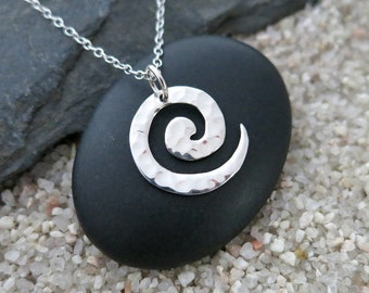 Silver Spiral Necklace, Sterling Silver Swirl Pendant, Spiral Jewelry