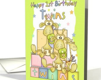 Twins First Birthday Card - Two Little Giraffs card - Birthday Card For Twins