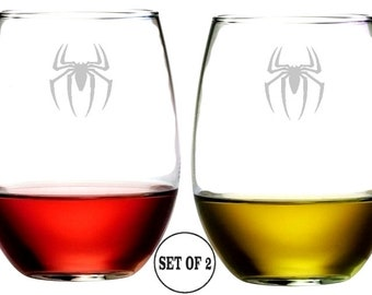 "Spider Stemless Wine Glasses | Etched Engraved | Lead Free | Dishwasher Safe | Set of 2 | 4.25"" High x 3.5"" Wide 