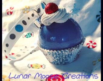 Mini Cupcake Ornament- Winter, Light Blue