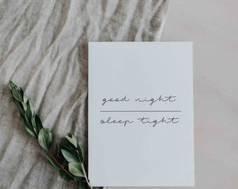 DIGITAL DOWNLOAD | Minimalist Art Print | Good Night | Poster Print
