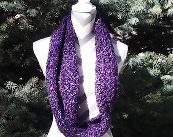Purple Infinity Scarf, Crochet Infinity Scarf, Woman's Loop Scarf, Purple Crochet Scarf