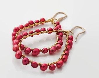 Red pearl earrings Pearl hoop earrings Boho red earrings Big gold earrings Big red earrings Valentines day gift for her Red hoop earrings