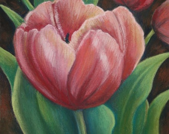 Tulip Time pastel painting print by Janeen Harding, Spring flowers, peach, green